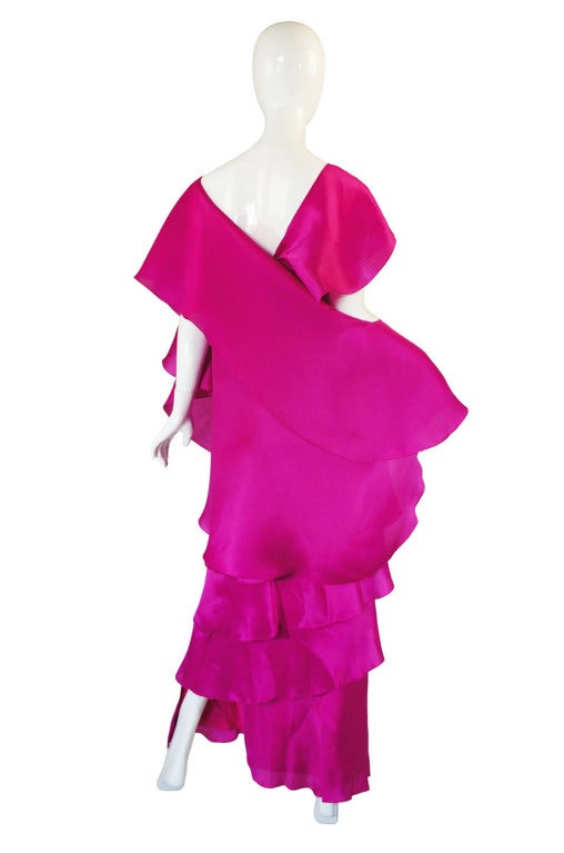 1990s Silk Organza Pink Gown w Cape image 4