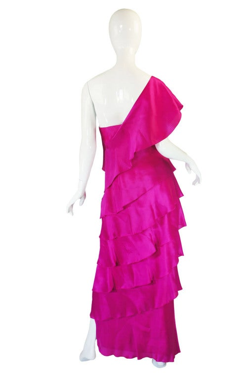 1990s Silk Organza Pink Gown w Cape image 5