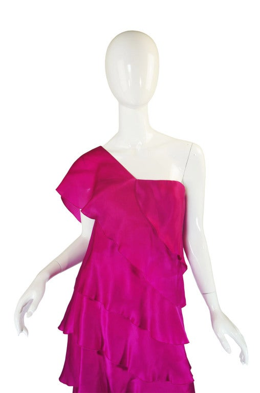 1990s Silk Organza Pink Gown w Cape image 6