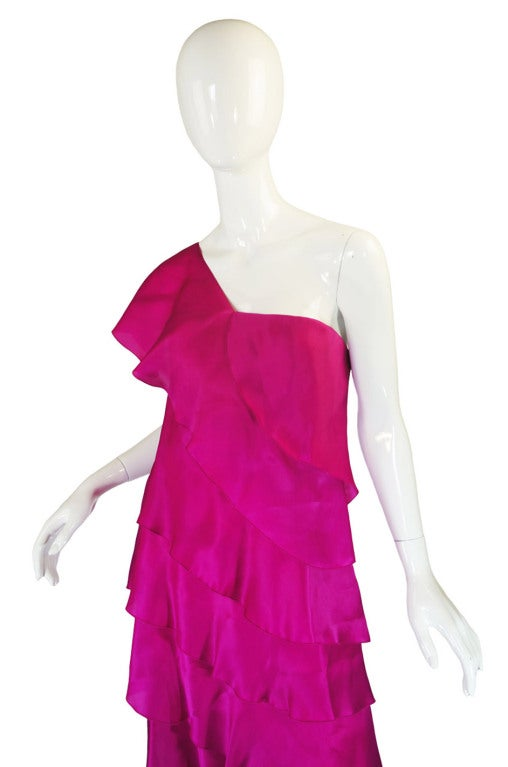 1990s Silk Organza Pink Gown w Cape image 7