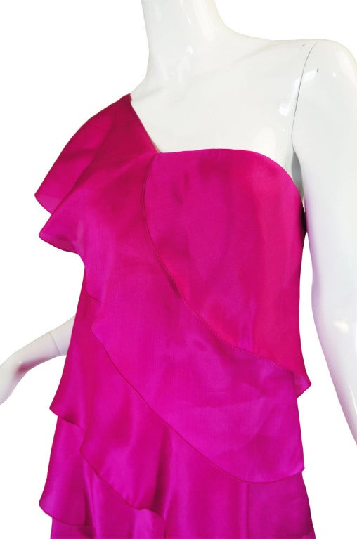 1990s Silk Organza Pink Gown w Cape image 8