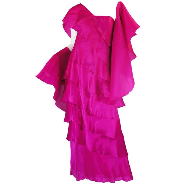 1990s Silk Organza Pink Gown w Cape