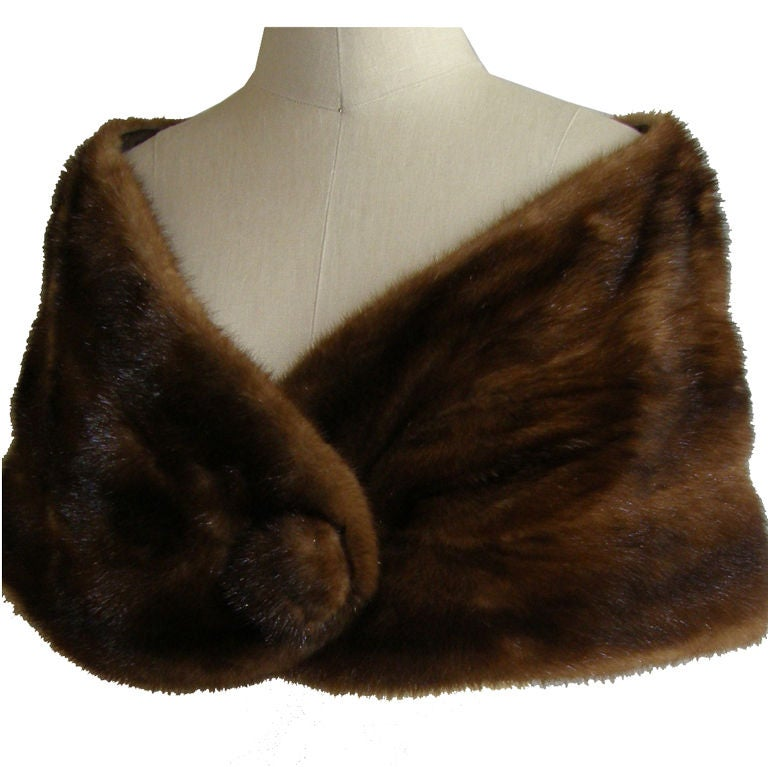Pretty Brown Mink Stole at 1stdibs