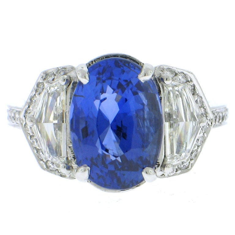 Rare Natural Blue Sapphire and Platinum Diamond Ring at ...