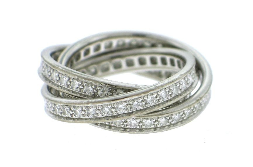 CARTIER 'Trinity' Diamond White Gold Eternity Ring image 2