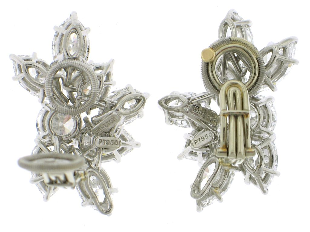 Harry winston cluster diamond earrings at 1stdibs for Harry winston jewelry pinterest