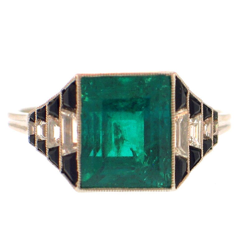 deco emerald onyx ring at 1stdibs