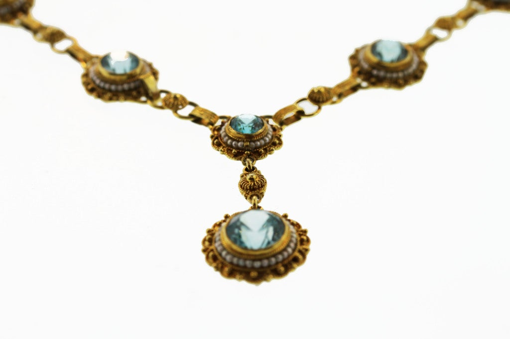 Victorian Natural Blue Zircon and Seed Pearl Necklace 2