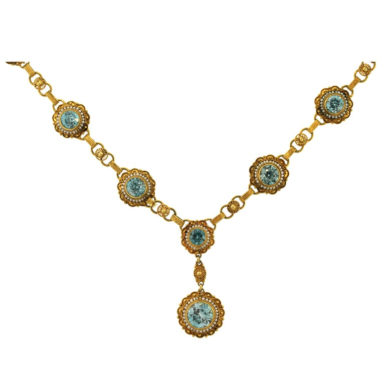 Victorian Natural Blue Zircon and Seed Pearl Necklace 1