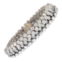 "1969 French Van Cleef & Arpels Diamond Platinum ""Chevalle"" Bracelet"