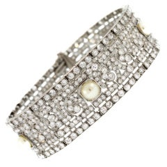 Art Deco Diamond and Pearl Bracelet