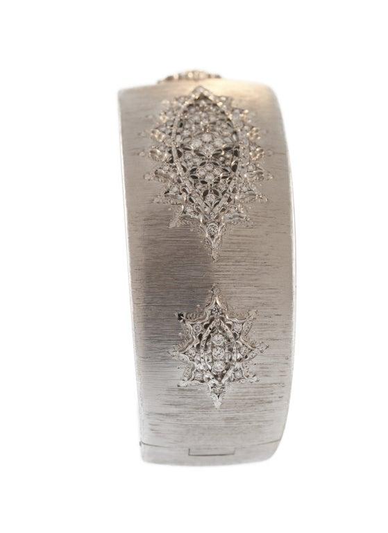Buccellati Diamond and White Gold Cuff Bracelet For Sale 1