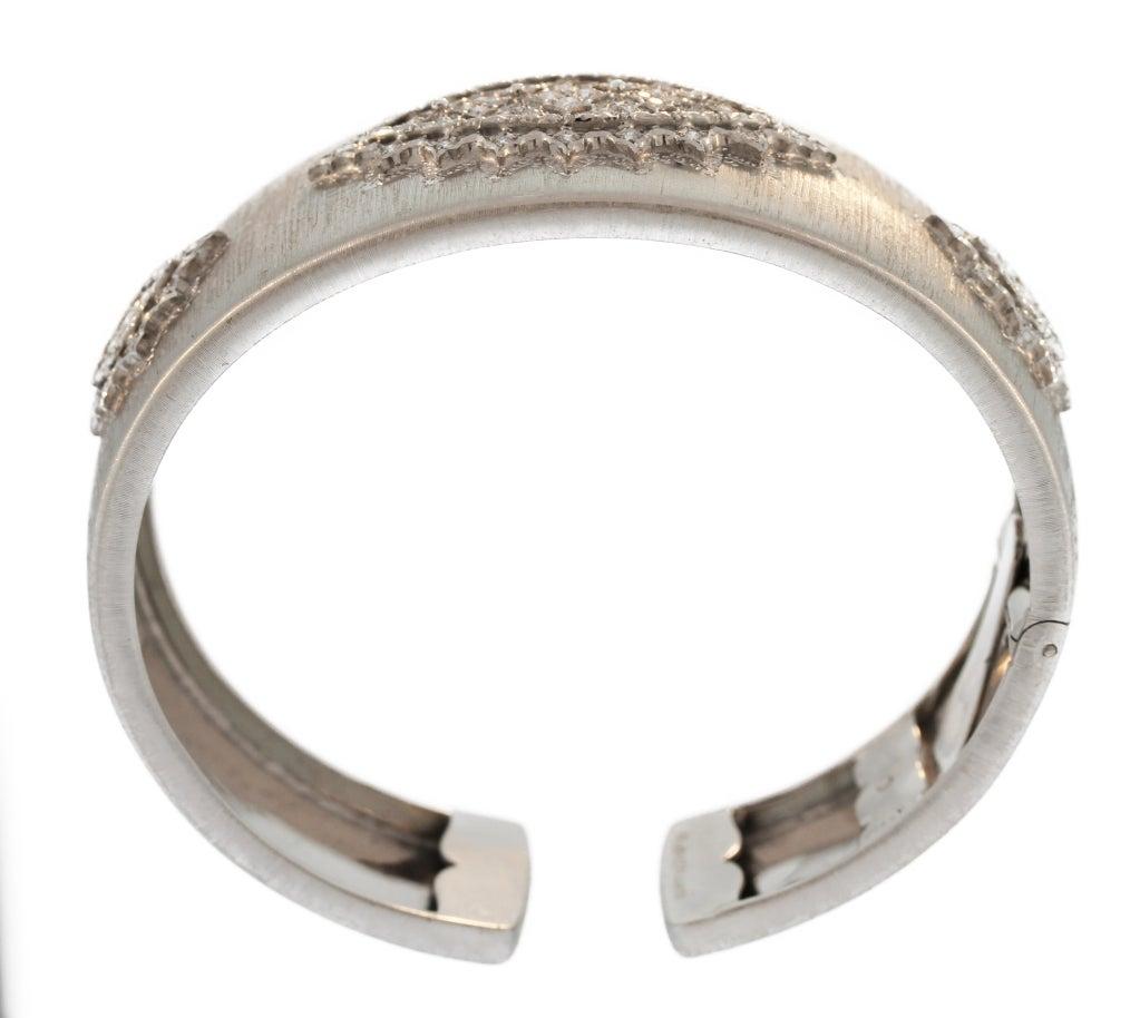 Buccellati Diamond and White Gold Cuff Bracelet For Sale 2
