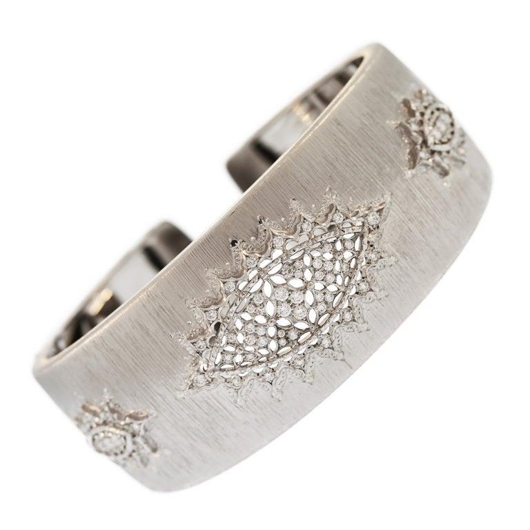 Buccellati Diamond and White Gold Cuff Bracelet For Sale