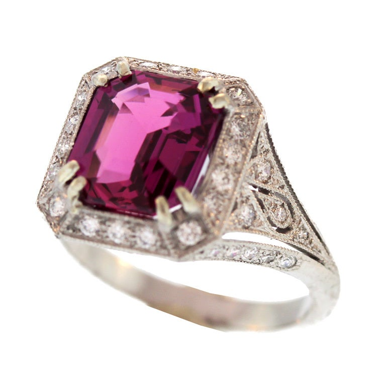 pink sapphire and platinum ring at 1stdibs
