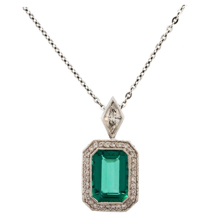 Near Flawless Emerald and Diamond Pendant-Necklace