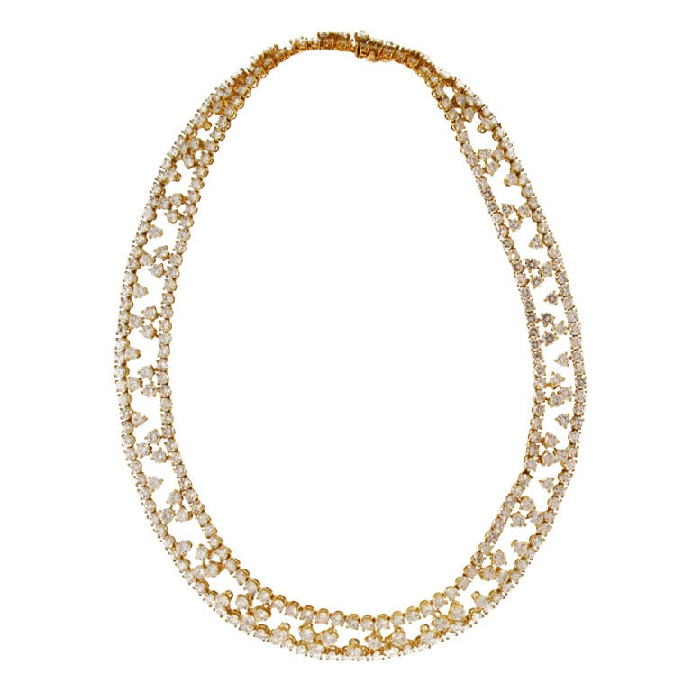 M Gerard  Paris  Gold and Diamond Necklace For Sale