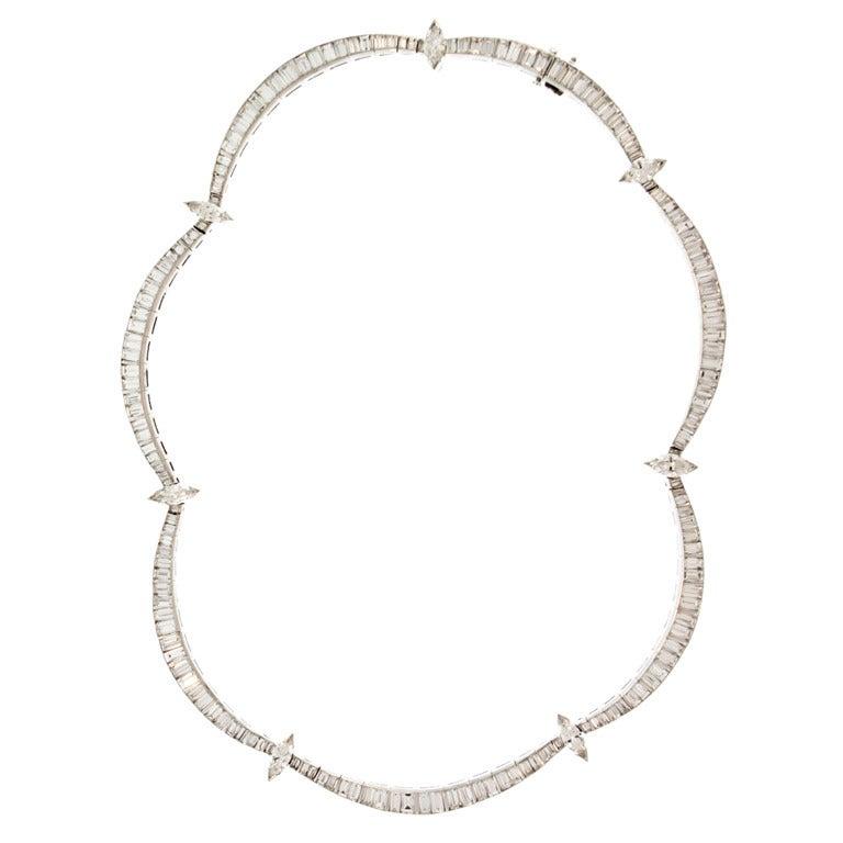 Harry Winston Diamond Platinum Necklace At 1stdibs