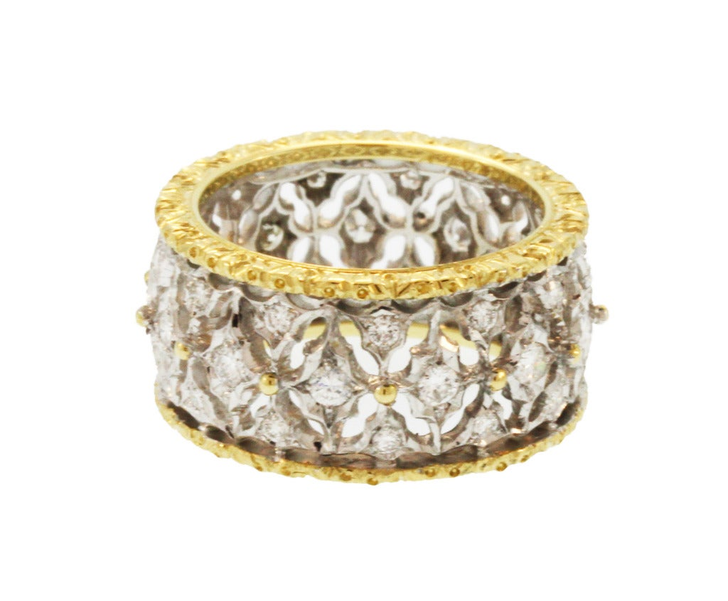 Buccellati Diamond And Gold Band Ring At 1stdibs