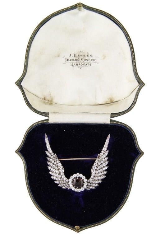 Late 19th Century Diamond and Garnet Brooch image 4