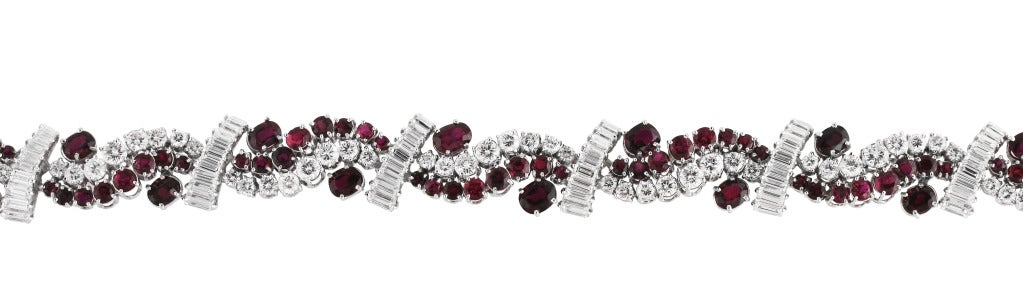Ruby Diamond White Gold Bracelet In Good Condition For Sale In Atlanta, GA
