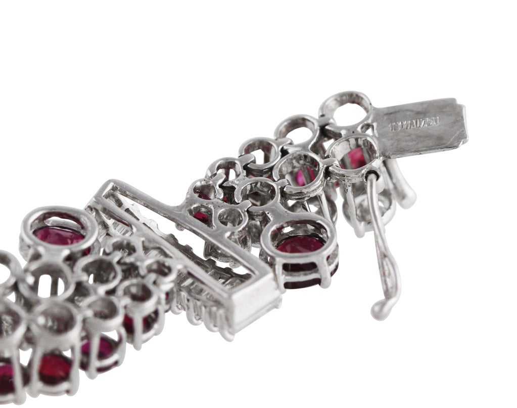 Women's Ruby Diamond White Gold Bracelet For Sale