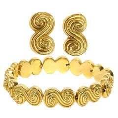 Tiffany Gold Bracelet and Earrings