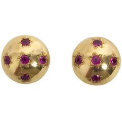 Retro Gold and Ruby Earrings
