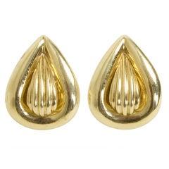 Gold Pear Shaped Earrings