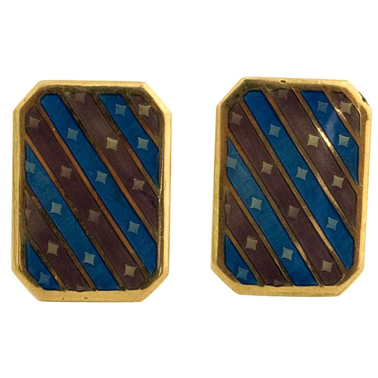 Gold and enamel Cufflinks For Sale