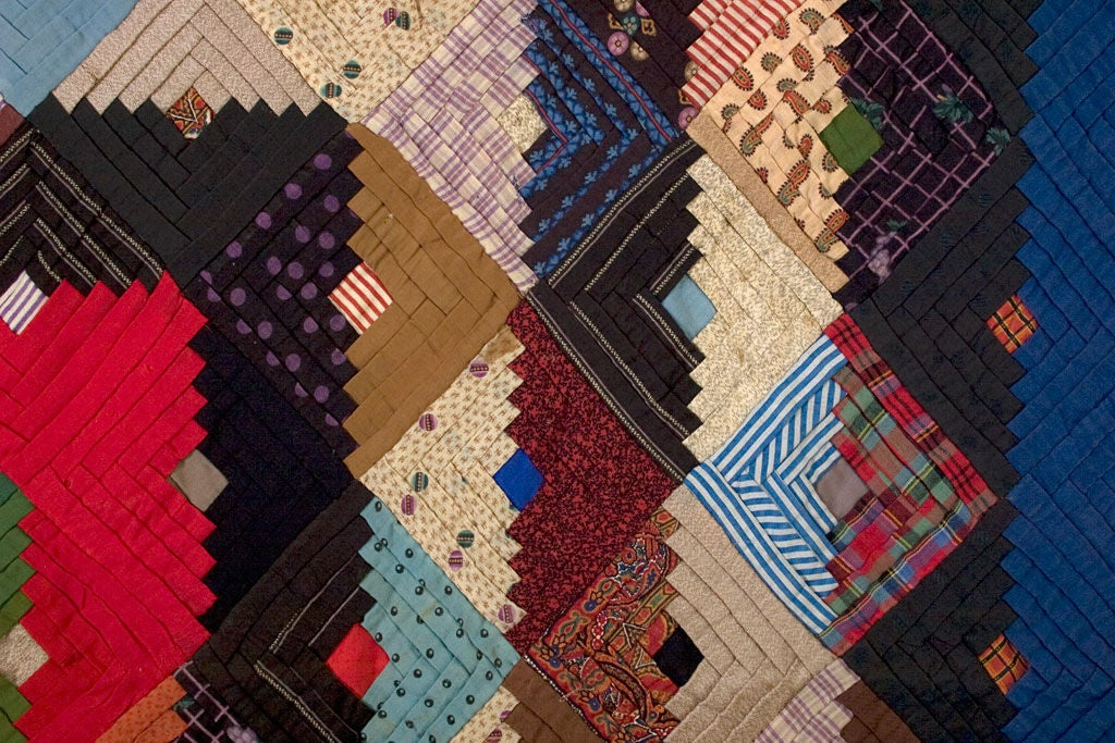 19th Century Barnraising Log Cabin Quilt on Square For Sale