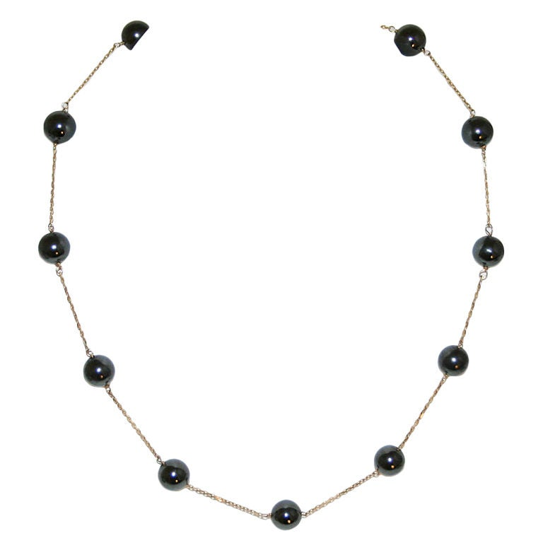 Gold Chain Necklace with Hematite