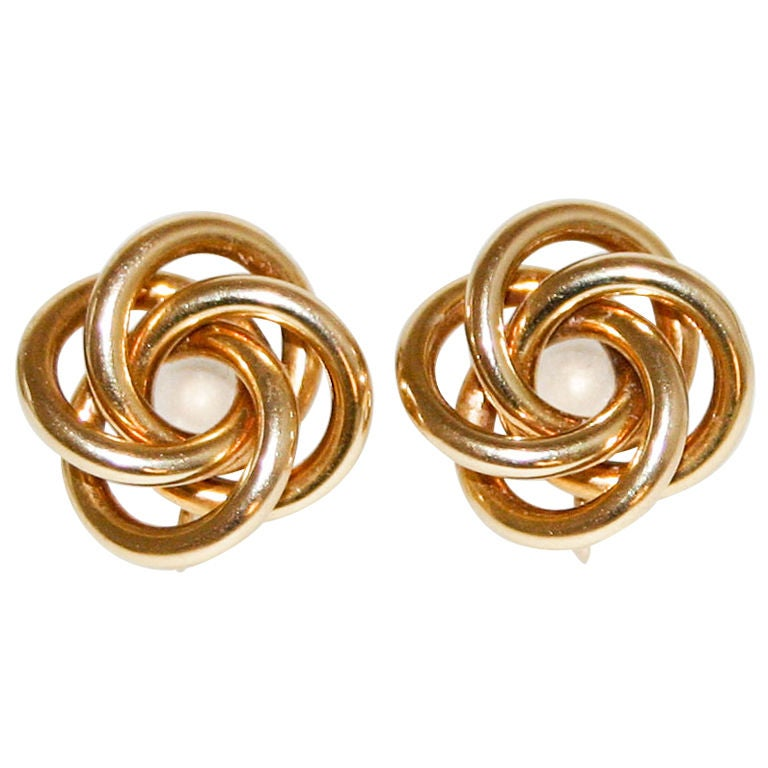Tiffany Gold Knot Earrings For Sale