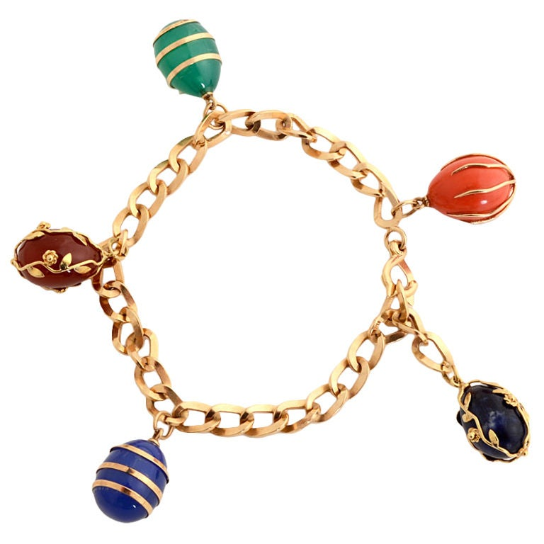 Gold Link Bracelet with Stone Charms