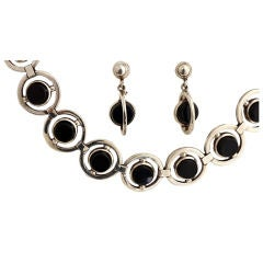 ANTONIO PINEDA Silver and Onyx Necklace and Earrings