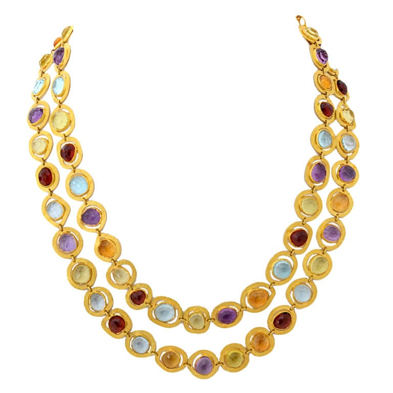 Long Gold Chain with Semi Precious Stones
