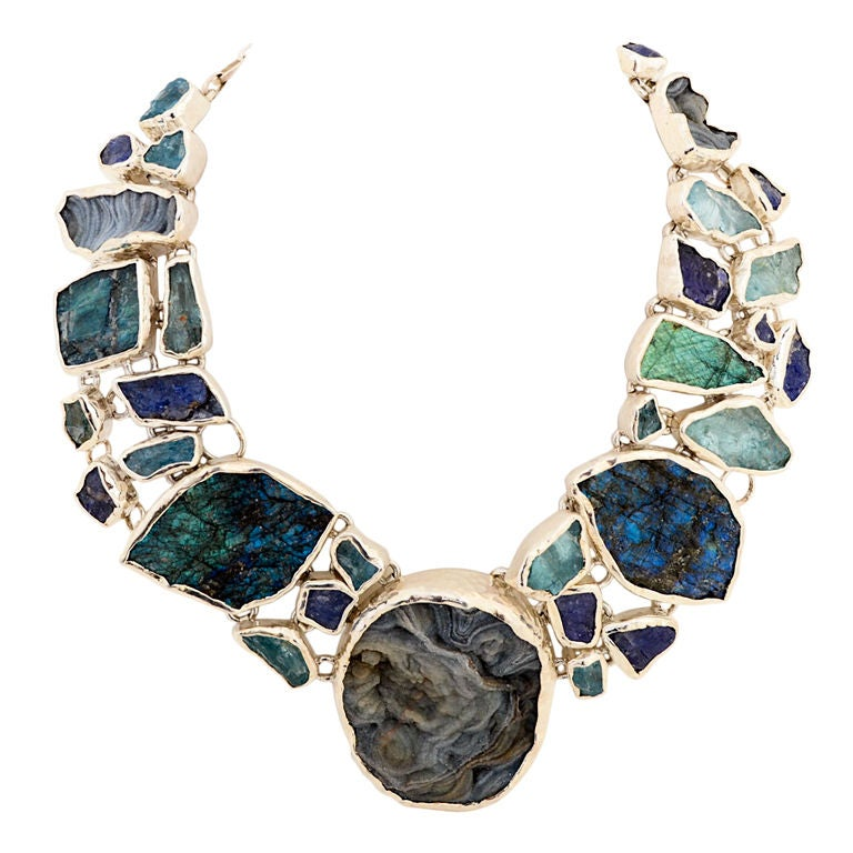 Huge Fabulous Necklace with Semi Precious Stones For Sale at 1stdibs