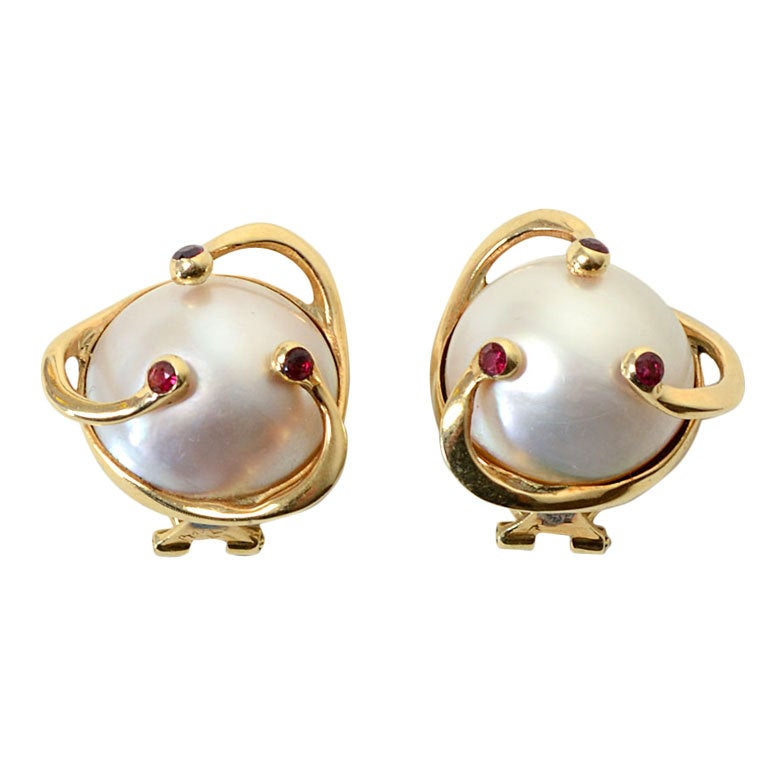 mabe pearl ruby earrings at 1stdibs