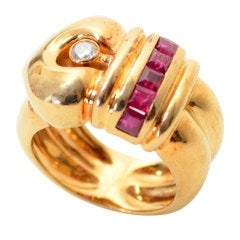 Ruby Diamond Gold Buckle Ring
