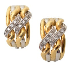Spritzer and Furman Diamond Two Color Gold Hoop Earrings