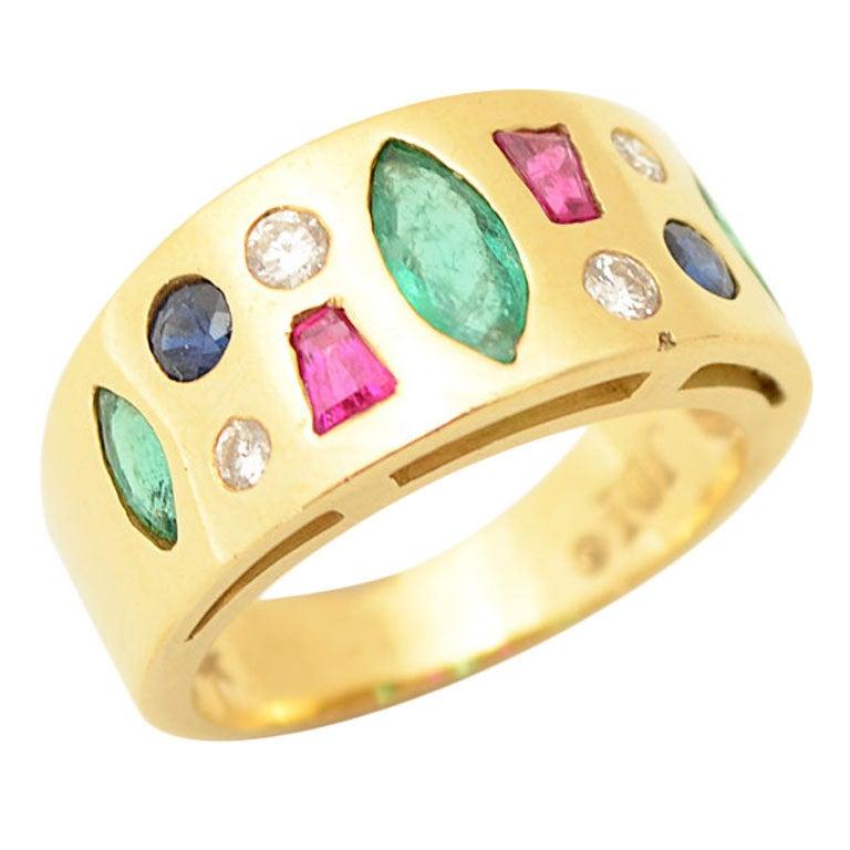Multi Stone Gold Ring