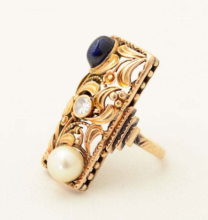 arts and crafts pearl sapphire diamond gold ring at 1stdibs