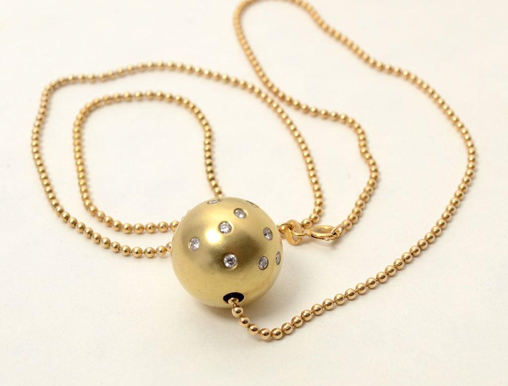 Diamond gold ball pendant at 1stdibs