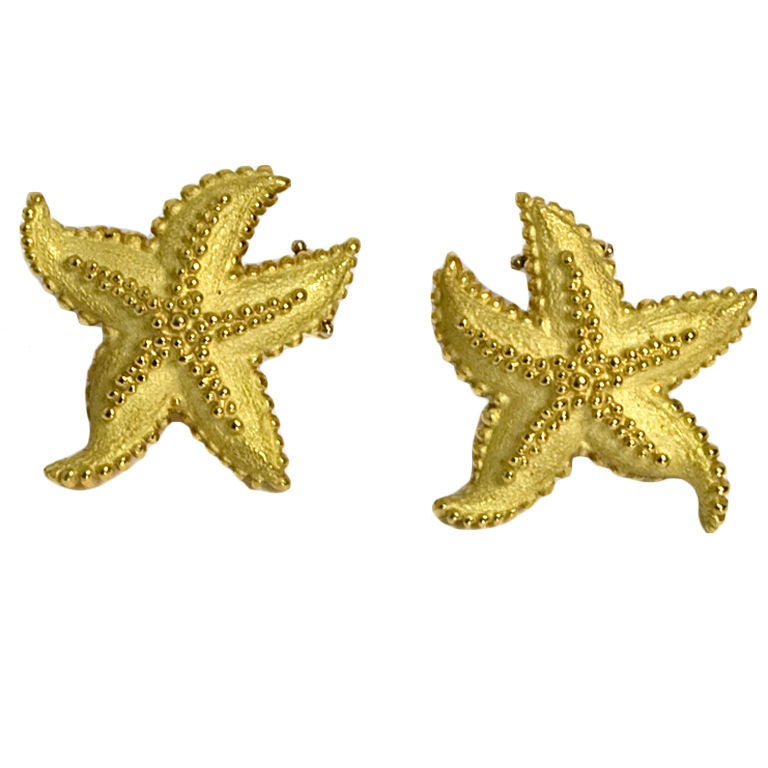 gold starfish earrings at 1stdibs
