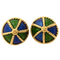 KREMENTZ Enamel and Gold Earrings
