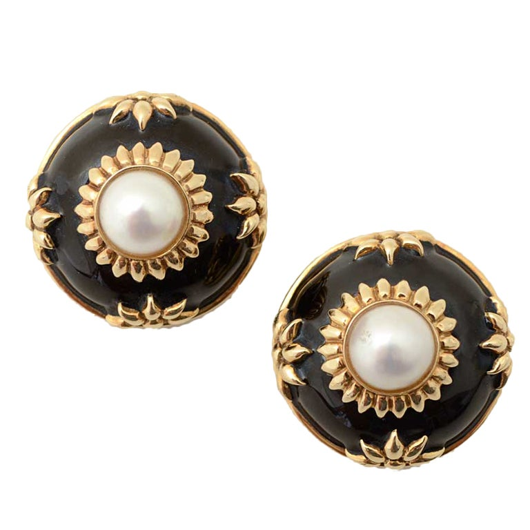 Gold, Enamel and Pearl Earrings For Sale