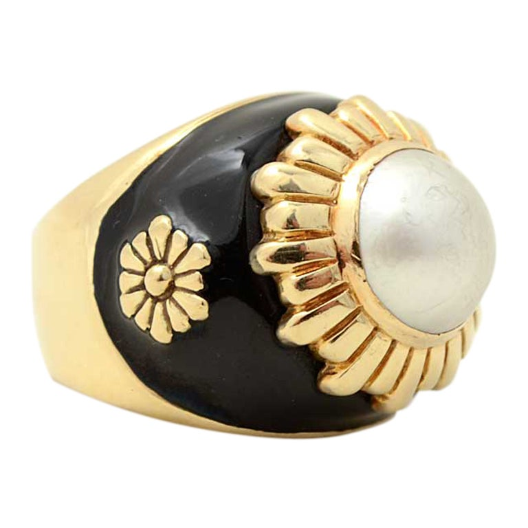 gold enamel and pearl ring at 1stdibs