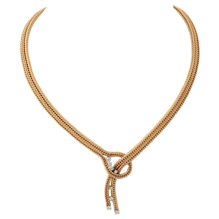 RETRO Gold and Diamonds Lariat Necklace 1