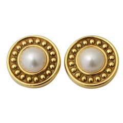 Large Gold and Mabe Pearl Earriings
