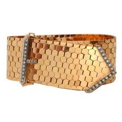 Retro Diamond Gold Buckle Bracelet